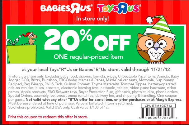 Toys R Us 20 Off : Off toys r us or babies printable through