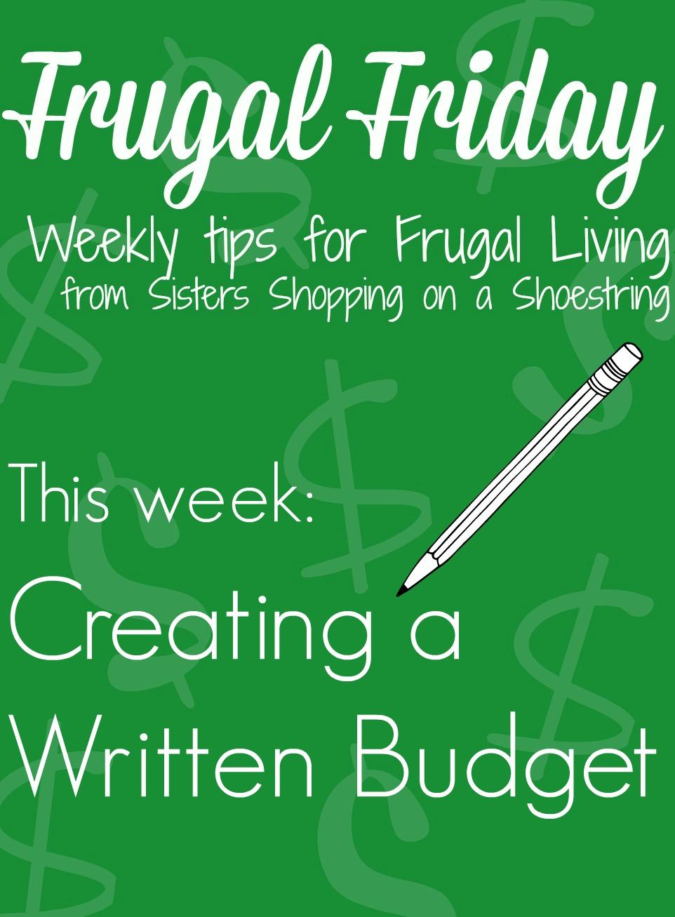 Frugal Friday written budget
