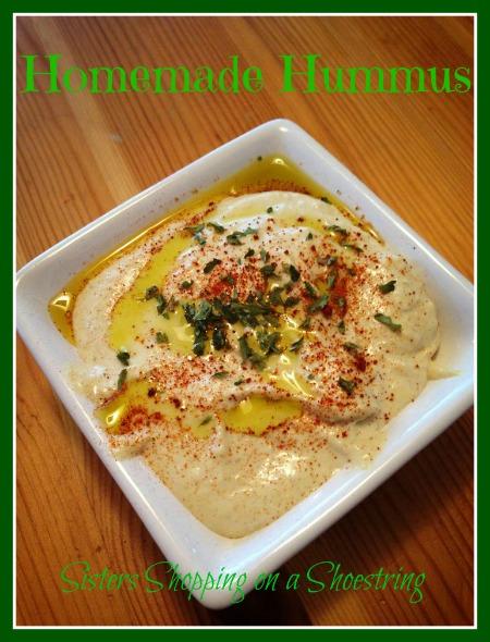 Homemade Hummus  www.sistersshoppingonashoestring.com