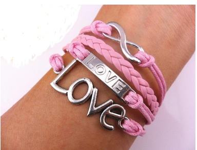 3312c24860499 Super-Cute Pink Leather LOVE Bracelet – Sisters Shopping Farm and Home