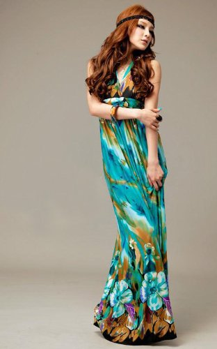 v neck peacock floral print halter dress only  12 59 shipped  u2013 sisters shopping farm and home