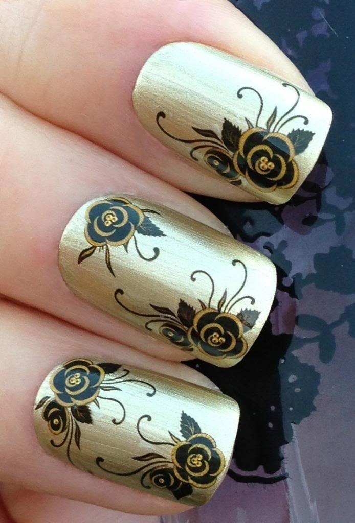 Black & White Strip Lines & Flowers Nail Art Decals Only $1.98 ...