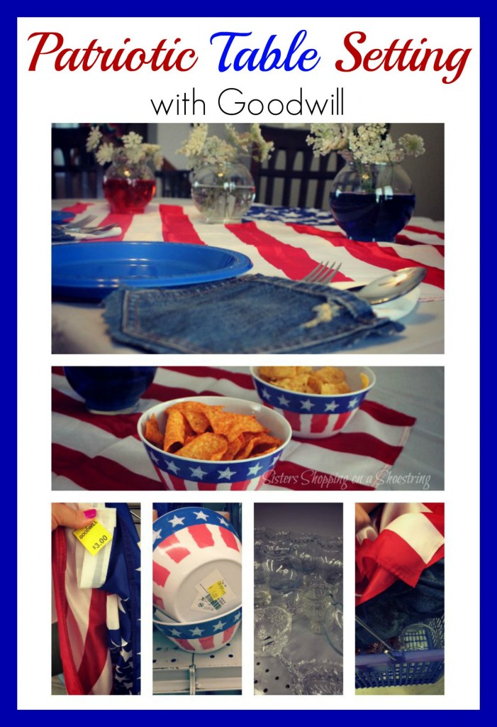 patriotic table setting with Goodwill