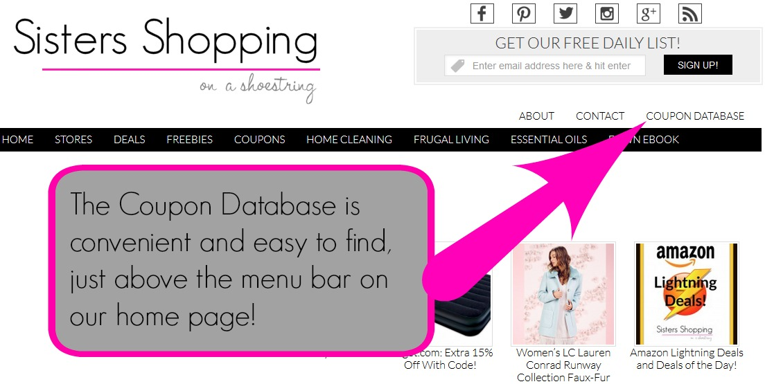 coupon database on site